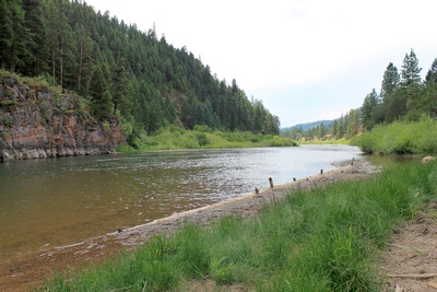 Blackfoot River beach area at Corrick's River Bend looking southwest.