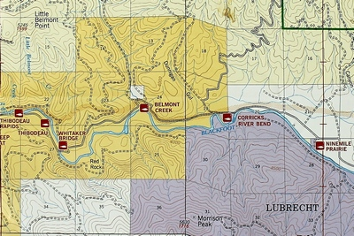 Close up map showing the Blackfoot River Recreation Corridor