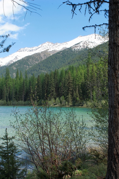 Beautiful view of the Swan range mountains east of Clearwater Lake in the Lolo National Forest at trails end.