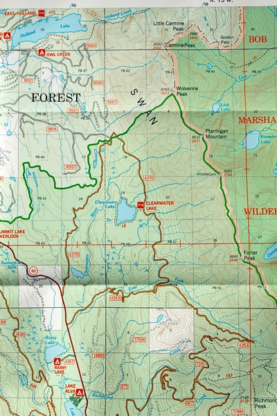 Seeley Lake Ranger District Map (West Half) showing the location of Clearwater Lake and trailhead in the center.
