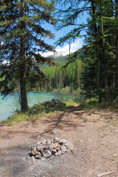 Lolo National Forest Clearwater Lake campfire site at trails end 5//24/17