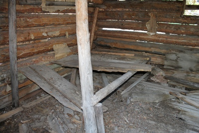 Inside view of the only cabin I saw in Coloma (ghost town) that has not yet collapsed.  Old newspapers can be seen lining the underside of the roof.
