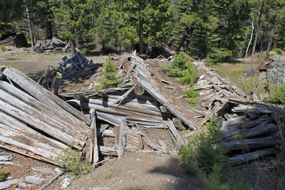 Collapsed structure in the main part of Coloma (ghost town)