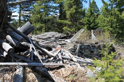 Completely collapsed cabin with lower stone wall in Coloma (ghost town) Montana