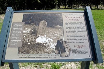Who was Frank Hamilton?  No one really knows.  Sign at Sand Park Cemetery not far from Coloma (ghost town) where some of the poorer miners appear to have been buried.