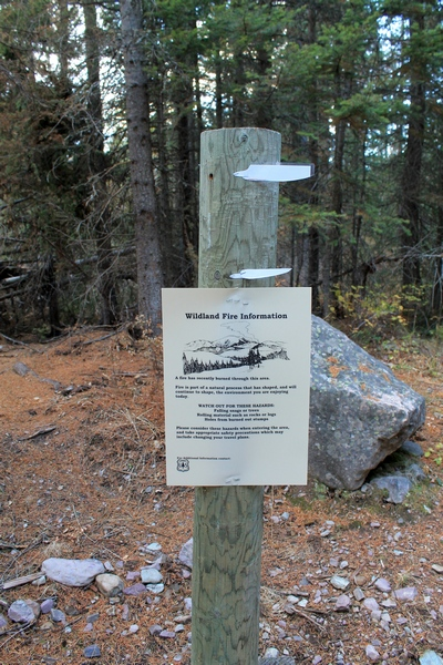 Wildland Fire Information sign at the Morrell Falls trailhead 10/11/17.  Worth reading.. click to enlarge.