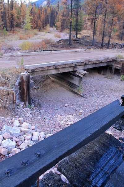 The old bridge across Morrell creek is still in operation.  Morrell creek bed is dry.