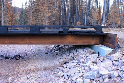 Side view of the burned wooden bridge crossing Morrell Creek on FR 4381 on the way to Morrell Falls trailhead and Pyramid Pass trailhead as it appeared 10/11/17.  The bridge and forest have sustained heavy damage in the Rice Ridge fire.  Morrell Creek below is dry.