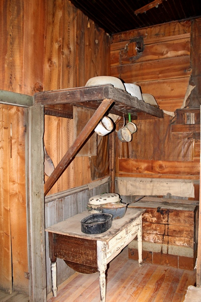 The Wells Hotel, kitchen prep area in the back left corner of the kitchen.  The first floor, which included the kitchen had high ceilings.  Garnet Ghost Town, Montana