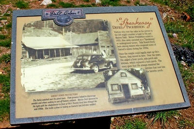 Sign in front of the remodeled home of Ole and Marion Dahl.  Before 1933, it was a 'Speakeasy'.  Marion Dahl, who lived here through the mid-1960s, holds a place in history as the last full-time resident of Garnet.