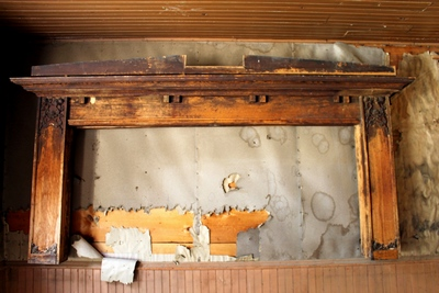 Woodwork on the wall of Kelley's Saloon, one of the 13 bars in Garnet during the boom period that offered 'male oriented' entertainment.
