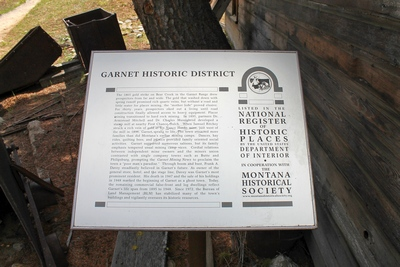 Garnet Historic District Sign telling the history of Garnet, MT.