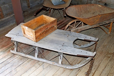 Old sled and other artifacts in Frank Davey's General Store.  Garnet Ghost Town, Montana