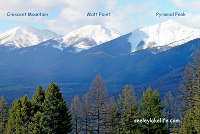 Crescent Mountain, Matt Point and Pyramid Peak in the Swan Range above Seeley Lake, Montana