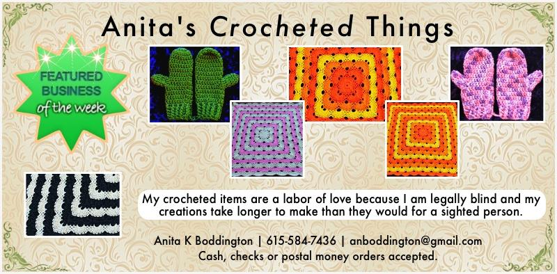 Anita's Crocheted Things - Seeley Lake, MT 'Featured business of the Week' (week ending April 28, 2018) - Anita K Boddington - Crocheted Handbags, Hats, Fingerless Gloves, Mittens, Lap blankets, Legwarmers, Scarves, Baby blankets - 615-584-7436