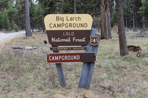 Big Larch Campground - Lolo National Forest sign on Hwy 83 north of Seeley Lake