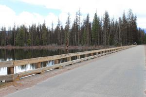 Boy Scout road west-side bridge crossing the Clearwater River coming off of Seeley Lake