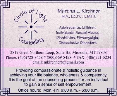 Circle of Light Counseling - Marsha L. Kirchner M.A., L.C.P.C., L.M.F.T. - 2819 Great Northern Loop, Suite B5, Missoula, MT 59808, Phone: 406-728-8458