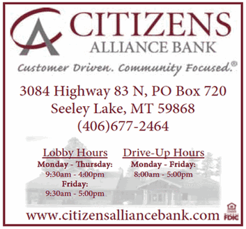 Citizens Alliance Bank, Customer Driven, Community Focused, 3084 Hwy 83 N, PO Box 720, Seeley Lake, MT 59868, 406-677-2464