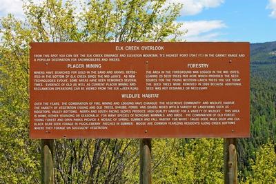Sign at Elk Creek Overlook in the Garnet Range east of Garnet Ghost Town, Montana