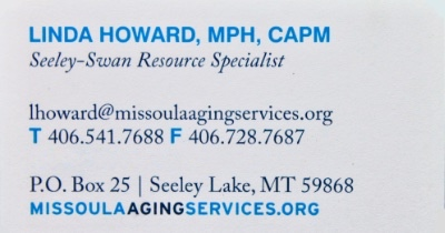 Linda Howard, MPH, CAPM - Seeley-Swan Resource Specialist, Missoula Aging Services, Bison and Bear Center, Seeley Lake, MT