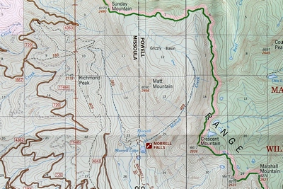 Closeup map of the area around Morrell Falls and the Grizzly Basin