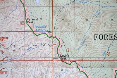 Close-up Map of Pyramid Pass Trail - Pyramid Peak, Pyramid Lake, Seeley Lake, MT
