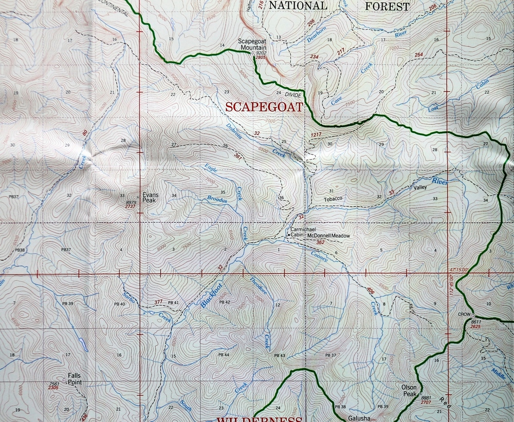 Map of the last section the Hobnail Tom Trail (32) in Montana's Scapegoat Wilderness