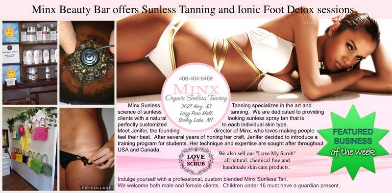 MINX Organic Sunless Tanning - Featured Business of the Week (week ending March 10, 2018) Minx Beauty Bar offers sunless tanning and ionic foot detox sessions.