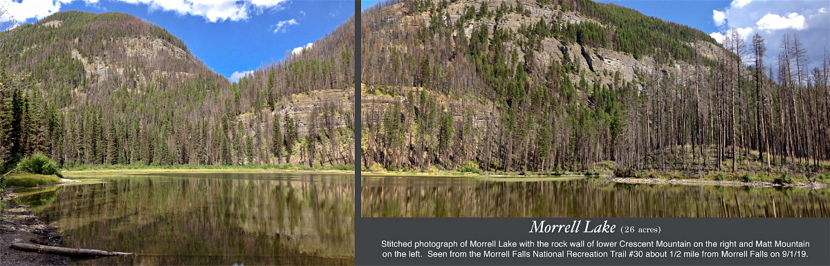 Stitched photo of Morrell Lake with the rock wall of lower Crescent Mountain on the right and Matt Mountain on the left as seen from the Morrell Falls National Recreation Trail #30 about 1/2 mile from Morrell Falls on 9/1/19. Things to see in Seeley Lake Montana