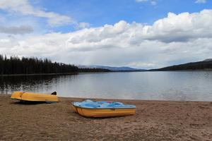 View of Seeley Lake looking north from the beach at 'The Lodges on Seeley Lake'