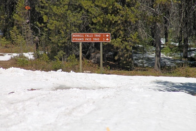 May 4th, 2017 Snow still blocking access to Morrell Falls trailhead and Pyramid Pass Trailhead