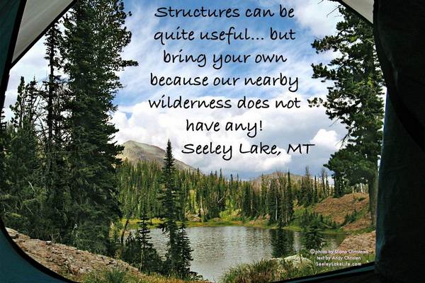 Structures can be quite useful...but bring your own because our nearby wilderness does not have any!  Seeley Lake, Montana