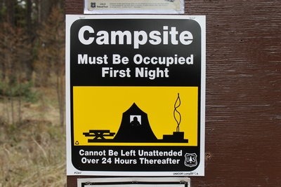 Campsite rules sign at Big Larch Campground, Seeley Lake, MT
