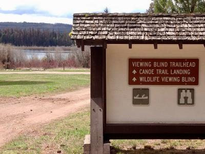 Clearwater Canoe Trail Landing & sign behind the Lolo Nat'l Forest Service Ranger Station off of Hwy 83 just north of the town of Seeley Lake, MT