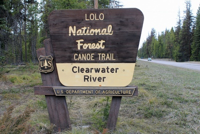 Lolo National Forest Canoe Trail Clearwater River Sign on Hwy 83 north of Seeley Lake, Montana
