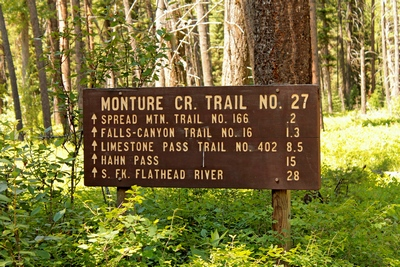 Sign indicating distances posted at the trailhead of the Monture Creek Trail in Powell County western Montana north of Ovando