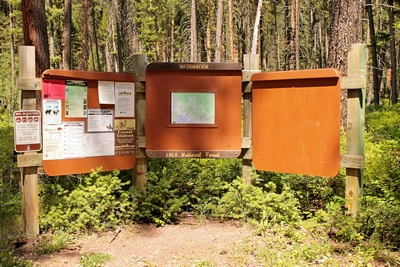 Signs posted at the trailhead of the Monture Creek Trail No. 27 in Powell County western Montana north of Ovando