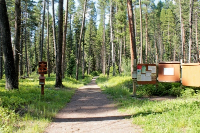 Trailhead of the Monture Creek Trail in Powell County western Montana north of Ovando