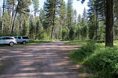 Parking lot at the Monture Creek Trail Trailhead in Powell County western Montana north of Ovando
