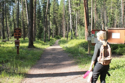 Beginning a hike on the Monture Creek Trail in Powell County western Montana north of Ovando