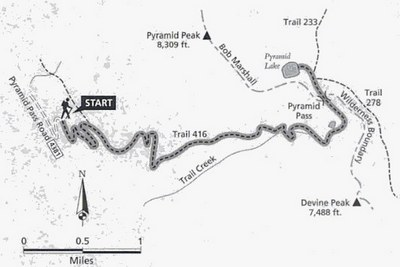 Map of Pyramid Pass Trail (416) - near Seeley Lake, MT
