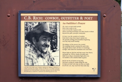 C.B. Rich - Cowboy, Outfitter and Poet Sign at the Pyramid Pass Trailhead near Seeley Lake, MT