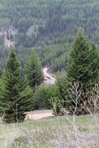 Road 4381 to the Pyramid Pass Trailhead looking down at the new bridge crossing Morrell Creek near Seeley Lake, MT