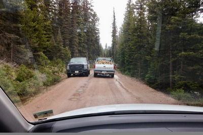 on May 1st, 2017, Game Warden tells private logger that this road to Morrell Falls Trailhead becomes impassable up ahead because of snow.