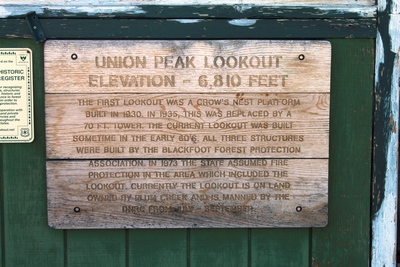 Information plaque on Union Peak lookout in the Garnet range of western Montana (Granite County)