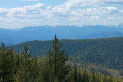 View  from the top of Union Peak looking west to the Rattlesnake Mountains and McLeod Peak (8,620 ft.) in the distance.
